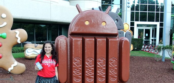 Figura de Android Kit Kat en las oficinas de google en Mountain view